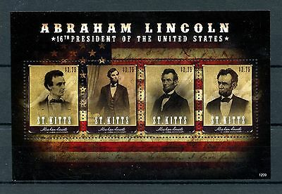 St Kitts 2012 MNH Abraham Lincoln 16th US Presidents 4v M/S Stamps