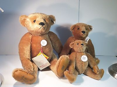 Vintage 80s Steiff Cinnamon Bear Teddy Set of 3 Woodbury Strong 0156 Tag Button