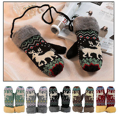 One Pair Winter Women's Warm Hot Thermal Knitted Mittens Full Finger Gloves Gift