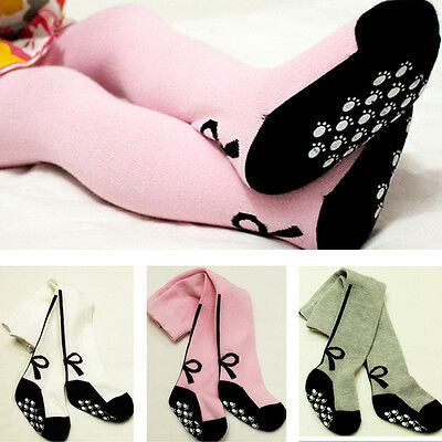 Baby Kids Girls Bow Anti-slip Soft Cotton Warm Stockings Tights Pantyhose Socks