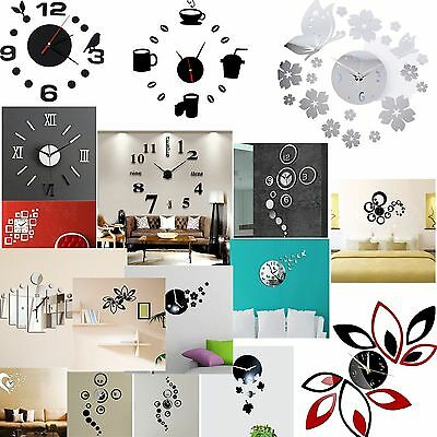 Watch De Pared Sticker Diy 3D Wall Reloj Colock Decoracion Moderno Casa By