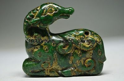 Unique Chinese Old Green Jade Carved Lifelike Sheep Statue G7