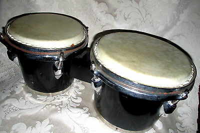 Latin Style Bongos Bongo Drums Real HIDE SKINS Black Bases  7 - 8 In. Wide