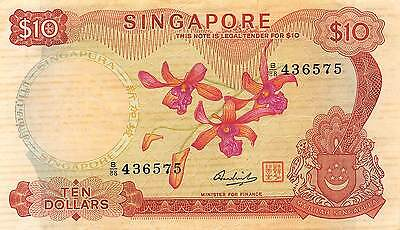 Singapore  $10  ND. 1973  P 3d  Series B/88 circulated Banknote A10A