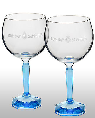 Bombay Sapphire Gin Balloon Glass New With Square Base X 2
