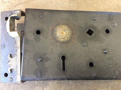 Late Victorian Cast iron DOOR BOX LOCK AND KEEPER