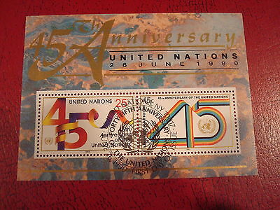 United Nations - 1990 45Th Anniversary - Minisheet - Umm - Excellent Condition