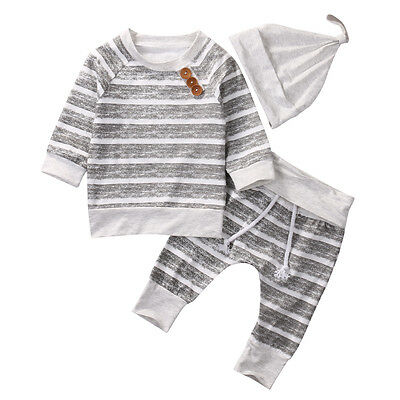 New Striped Infant Baby Girl Clothes t-shirt tops + pants +hat Bodysuit Outfits