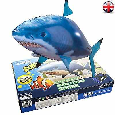Air Flying Shark Fish Swimmer -Children Kids XMAS Gift -Remote Controlled Toy UK