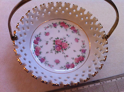 Floral china basket / dish with handle