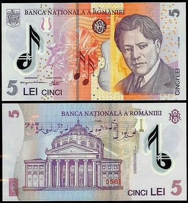 5 Lei polymer banknote, current curency, Roumanian BNR, UNC condition.