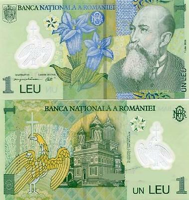 1 Leu, polymer banknote, current curency, Roumania BNR, UNC condition