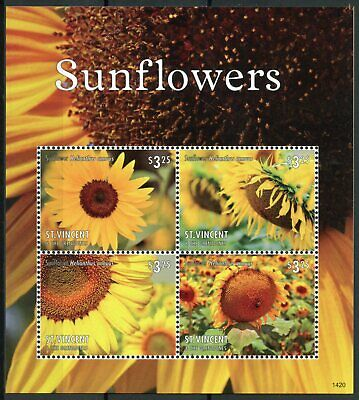 St Vincent & Grenadines 2014 MNH Sunflowers 4v M/S II Flowers Helianthus Stamps