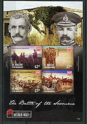 St Vincent & Grenadines 2015 MNH WWI WW1 Battle of Somme 4v M/S Military Stamps