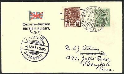 India Airmail S H Smith Signed Cover Calcutta To Bangkok British Raf Flight