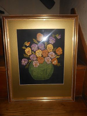 Framed Vintage Floral embroidered Picture Art Flowers Pansys Needlepoint