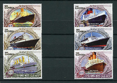 Gambia 2004 MNH Ocean Liners 6v Set Ships Boats Cunard Queen Mary II Stamps