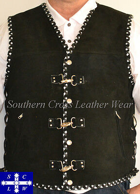 Men's Suede Leather Vest With Metal Clasps and Club Colors Braiding Size M-6XL