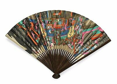 Antique Japanese Japan Handfan Brise Fan Calligraphy Bamboo Painting 1900