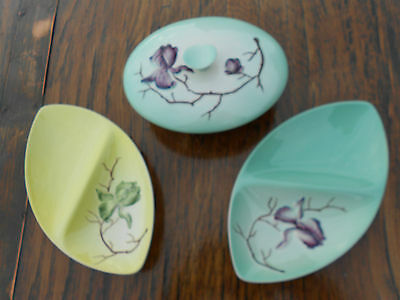 3 Pieces Vintage Carlton Ware Magnolia Pattern 3 Dishes 1 with Lid