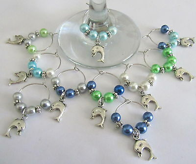 10 X Wine Glass Rings Charms  Cute Tibetan Silver Dolphins Set Of 10