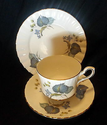 Royal Stafford Trio White With Gold Trim With Blue Leaf Design.. .. .. .. .. ..