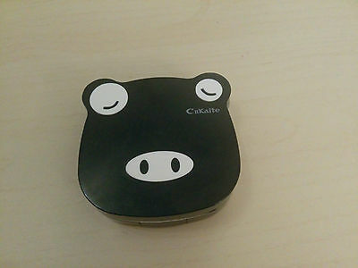Little Cute Black Piggy Shaped Contact Lens Travel Case Holder Box Container Set