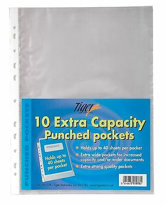50 x A4 Extra Large Capacity Plastic Wallets Punched Glass Clear Pockets