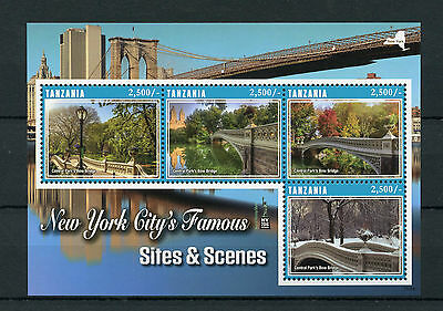 Tanzania 2016 MNH New York City Sites & Scenes NY2016 4v M/S Bridges Stamps