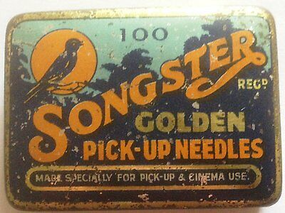 "Songster gramophone needle tin - ""100 Golden Pick-up"" Orange/Blue"