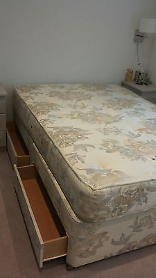 Double Bed with Quality Mattress and Four Drawers