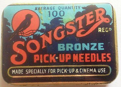 "Songster gramophone needle tin - ""Ave Quant 100 Bronze Pick-up"" Dark Orange/Blue"