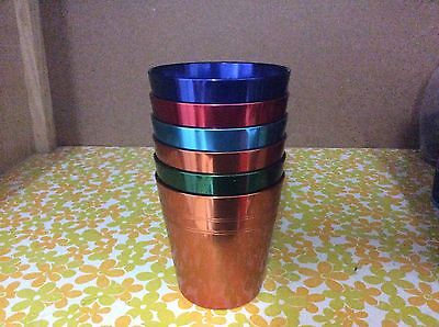 Vintage retro anodised Stokes Peacock ware cups in original case with opener