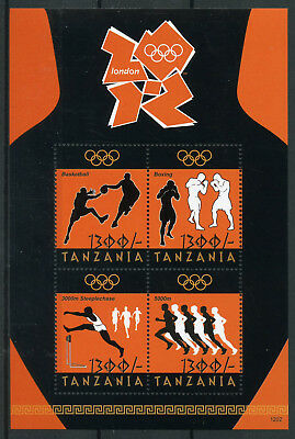 Tanzania 2012 London Olympics 4v M/S Basketball Boxing Steeplechase Stamps