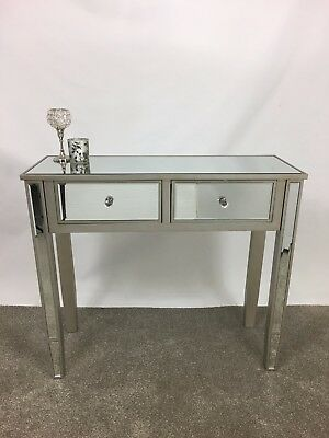 Champagne Silver Wood Trim Mirrored Glass 2 Drawer Console Hall Dressing Table