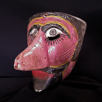 Mexican Dance Mask. Old Carnival Moor Mask. Mexican Folk Art.