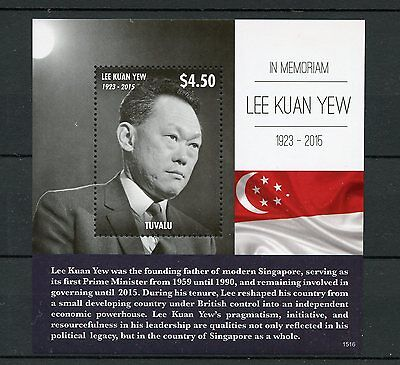 Tuvalu 2015 MNH Lee Kuan Yew in Memoriam 1v S/S Prime Minister Singapore Stamps