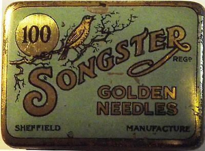 "Songster gramophone needle tin - 100 ""Golden Needles"" Silver/Blue"