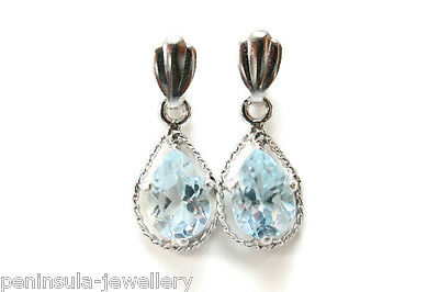 9ct White Gold Blue Topaz Drop Earrings Gift Boxed Made in UK