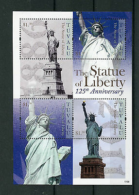 Tuvalu 2011 MNH Statue of Liberty 125th Ann 4v M/S New York Architecture Stamps