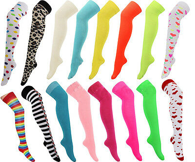 New Ladies Bright Neon Coloured Over Knee High Rainbow Socks Fancy Cotton Dress