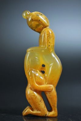 Unique Chinese natural old jade carved Men&women art sexy statue G22