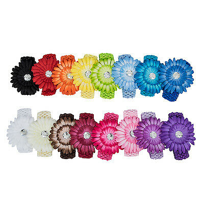 17 Colors Flower Baby Hair Bow Clip Crochet Headband  F5F9