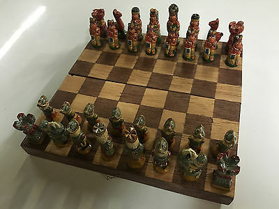 Antique Vintage Hand Painted Chess Set With Wood Board Super Rare