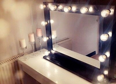 HERA VANITY: Hollywood Vanity Mirror With Lights (Black) - 860mm x 690mm