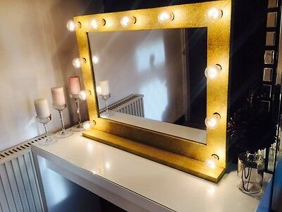 HERA VANITY - Hollywood Vanity Mirror With Lights (Gold Glitter) - 860mm x 690mm