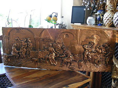 Large Decorative Painted Gold Plaster Wall Plaque Medieval Inn Pub Scene Relief