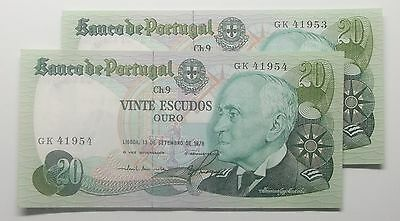Portugal - 2 X 20$00 - 9/1978 - Running Numbers - Unc