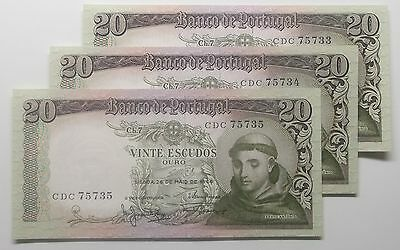 Portugal - 3 X 20$00 - 1964 - Running Numbers - Unc