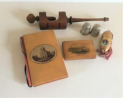 Collection of Sewing Items - Mauchine Ware, Clamp, Silver Thimbles & Brass Etui